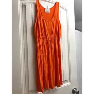 Summery, flowy orange sundress